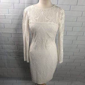 Cache Victorian Lace Bodycon Dress 10 cream white